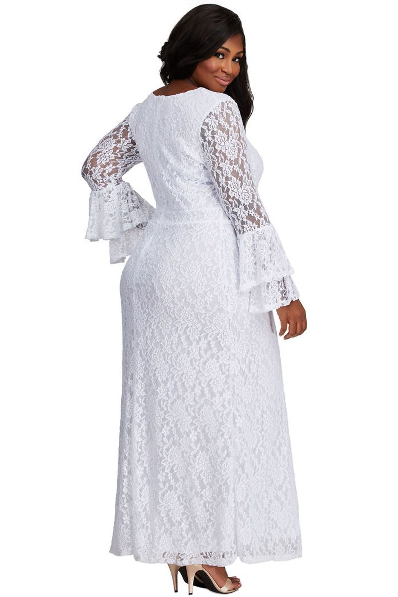 White Bell Sleeve Lace Plus Size Maxi Dress White Lace Maxi Dress Plus Size Maxi Dresses White Lace Maxi [ 1200 x 800 Pixel ]
