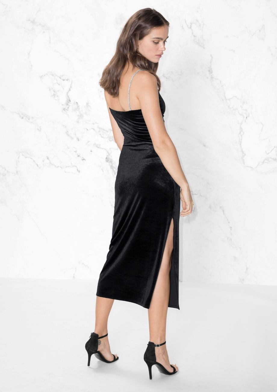 U other stories image of bodycon dress with rhinestone straps in