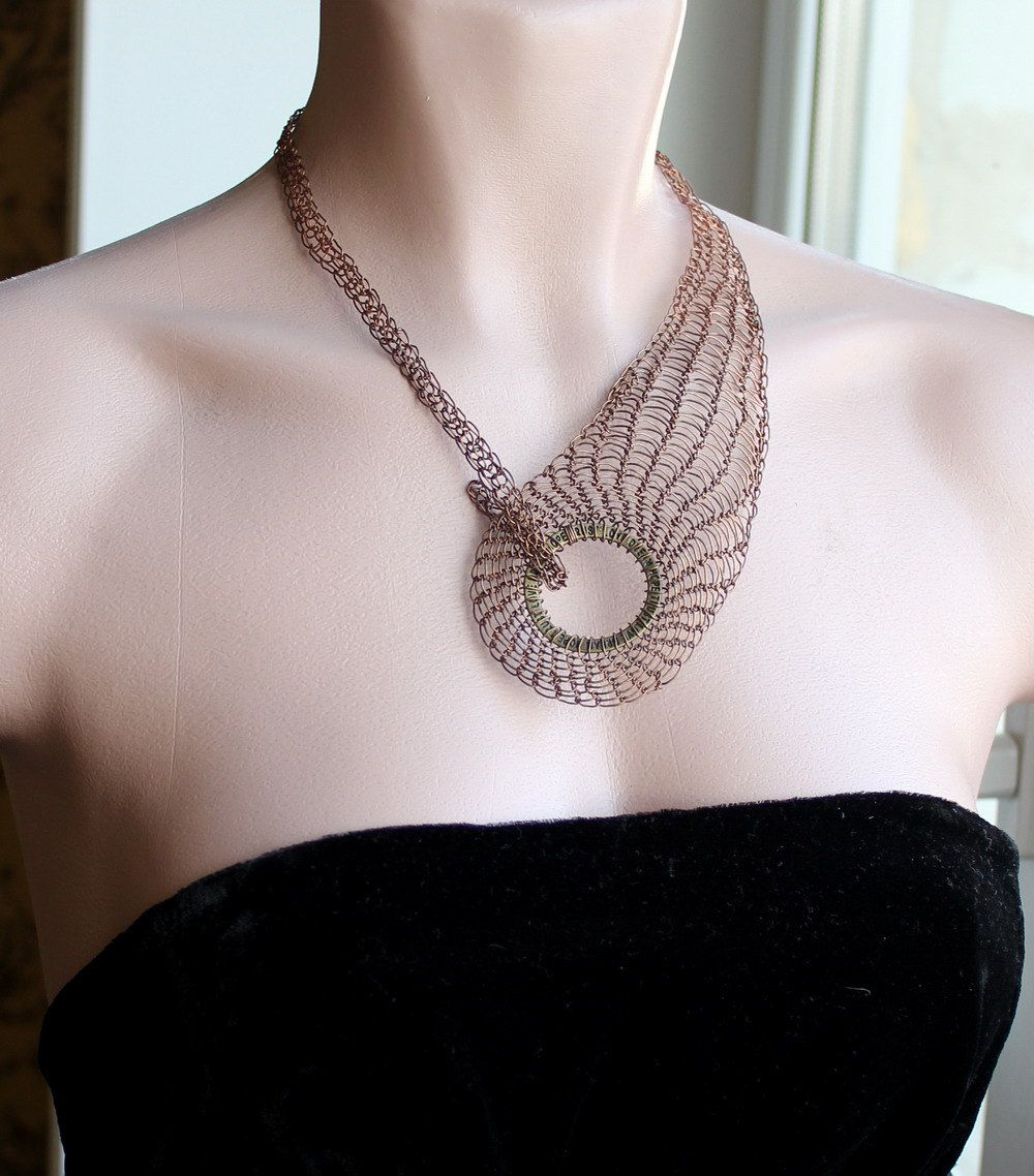 WREN Copper Wire Crocheted/Knitted Statement Collar Necklace ...