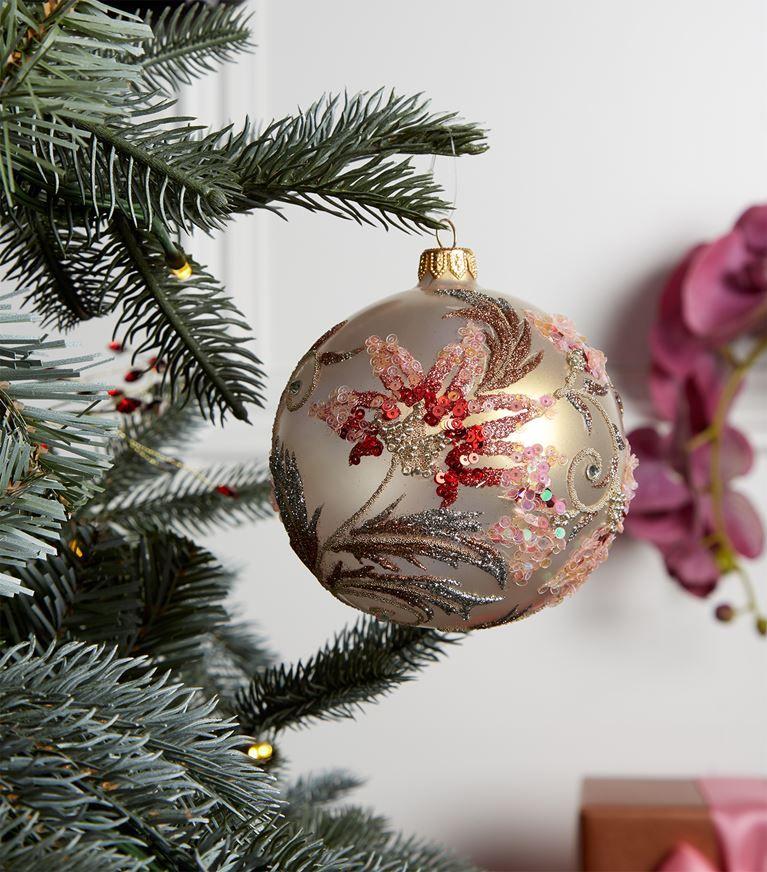 Harrods Floral Leaf Glitter Christmas Bauble Harrods Com Christmas Ornaments To Make Christmas Snowflakes Ornaments Glitter Christmas
