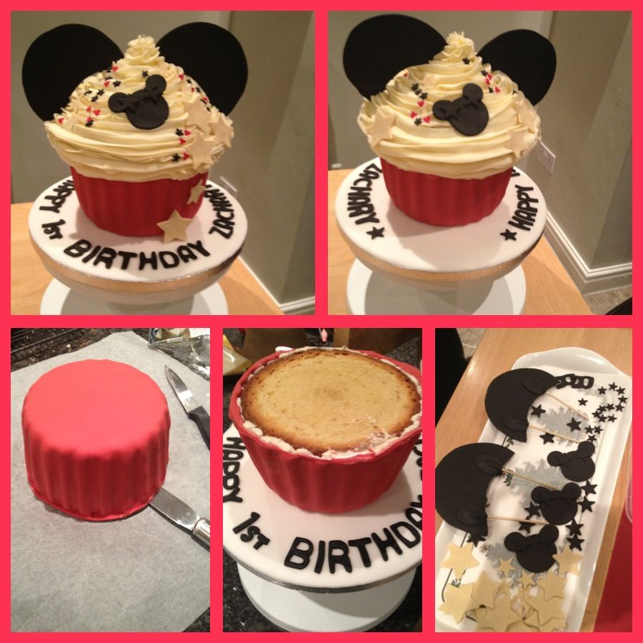 Mickey Mouse Giant Cupcake With Images Giant Cupcake Cakes