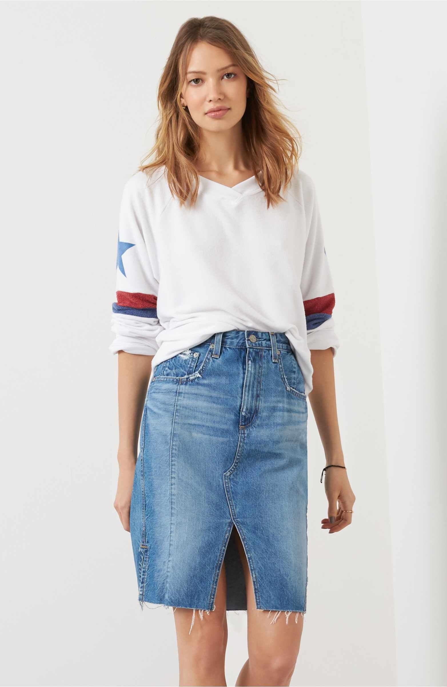 04e227a0e0 AG The Emery High Waist Denim Skirt (18 Years Blue Fawn) | Fashion ...