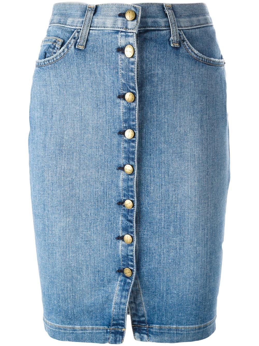 Current/elliott Buttoned Denim Skirt - Lillas Fashion - Farfetch.com