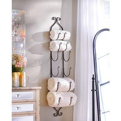 wine towel rack. Bronze Metal Hanging Towel / Wine Rack