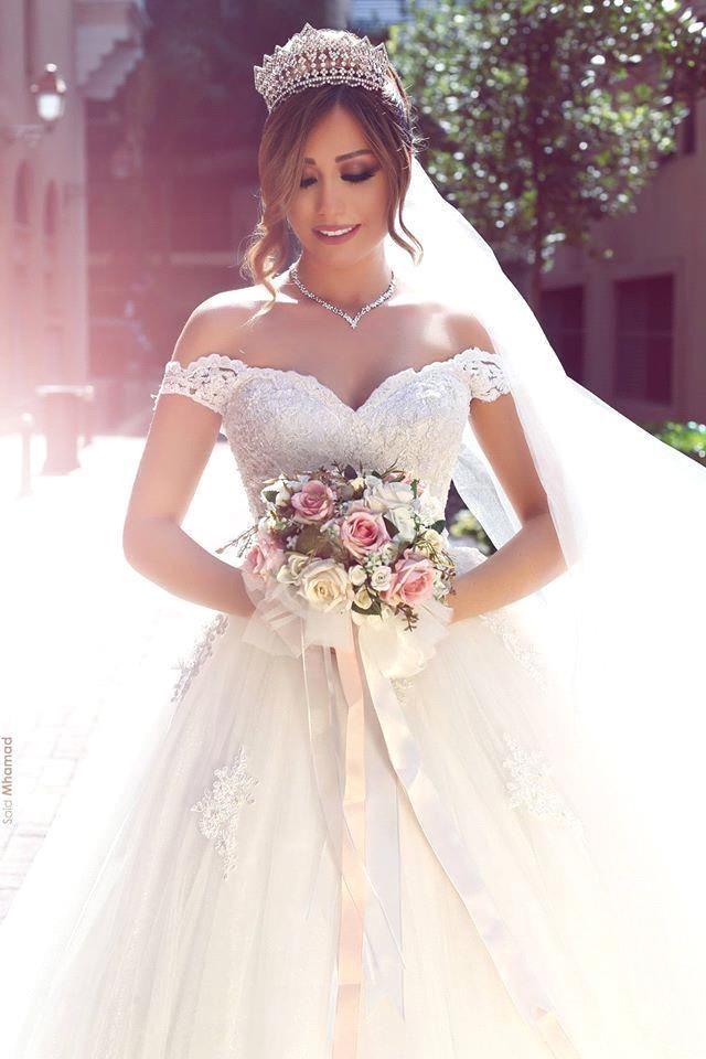 Romantisch Weiss Brautkleider Mit Spitze Schulterfrei Prinzessin Tull Brautmoden Hochzeitskleider Brautkleider Brautkleid Spitze Hochzeitskleid Braut