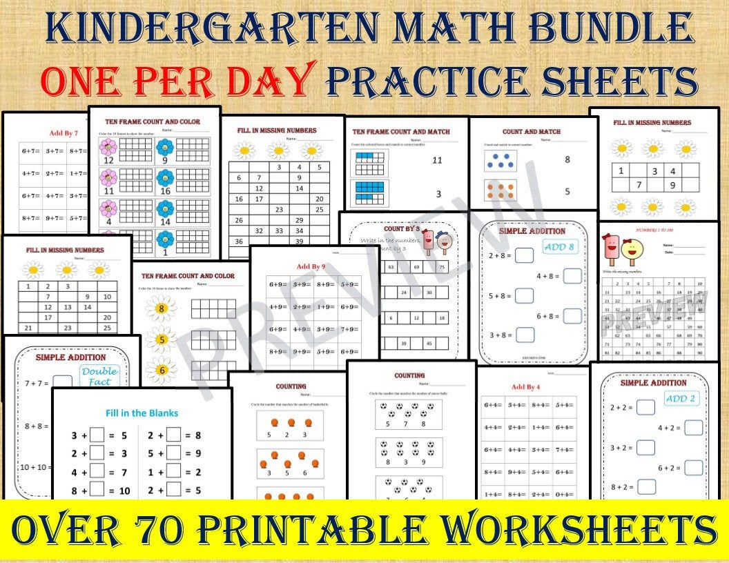 Kindergarten Math Bundle One Per Day 70 Worksheets