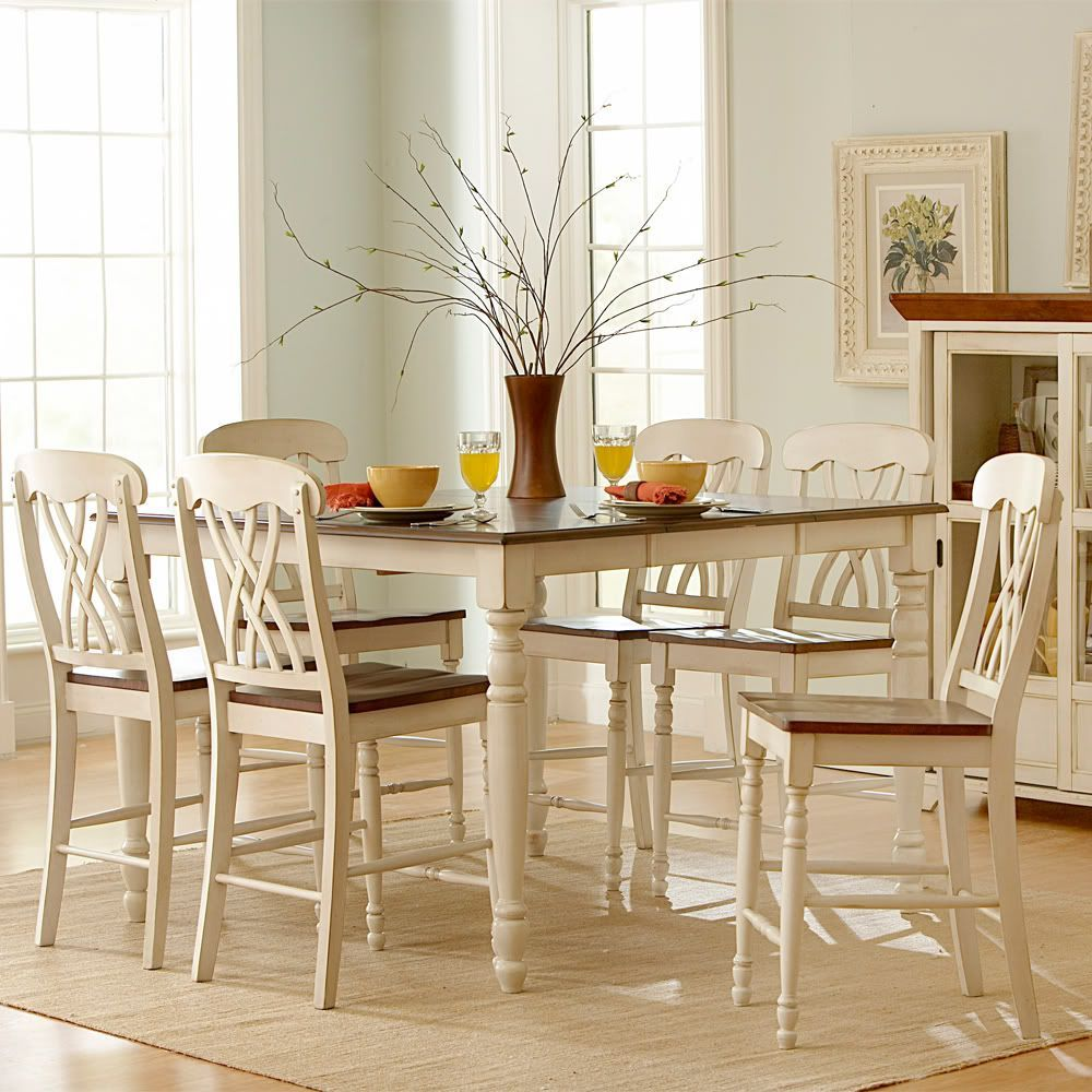 Dining Room Counter Height Sets Oxford Creek 7Pcs Antique White Counter Height Set Beige