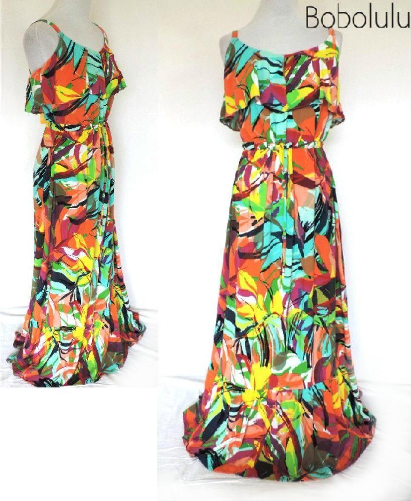 PER UNA Strappy LONG Flowy MAXI DRESS Bold TROPICAL Festival BOHO Feminine 12 L
