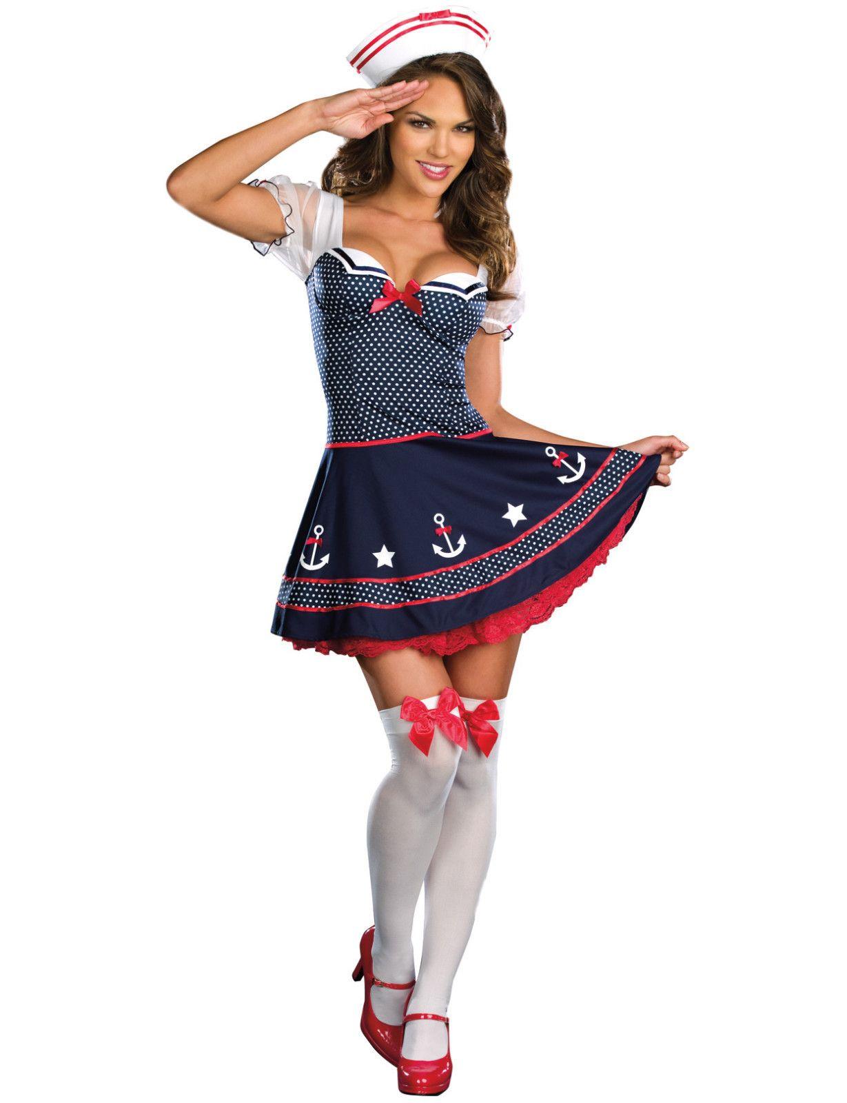 Sexy Navy Sailor PIN UP Ladies Fancy Dress Costume Halloween Party Uniform  M XL | eBay