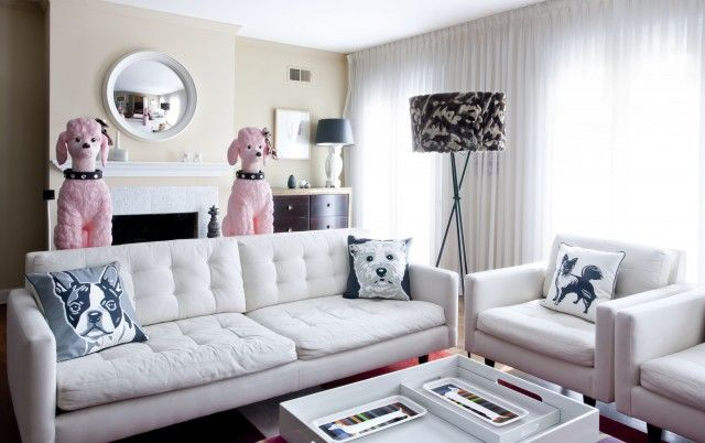 Classy living room for dog lovers