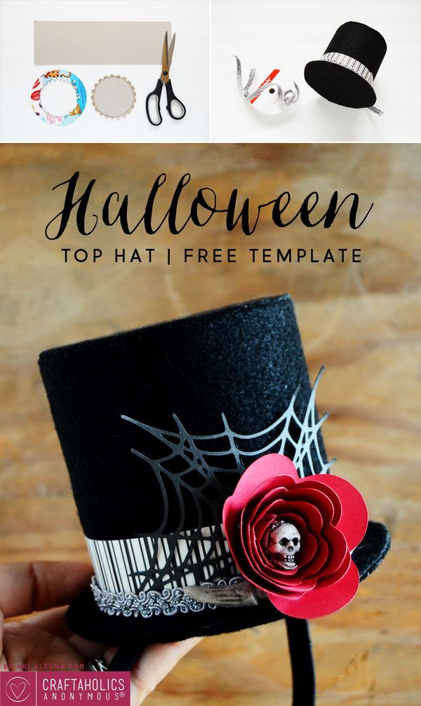 bf2bd9eb01f49 Halloween Top Hat Tutorial    Make your own DIY hat for your costume party  this year! Free template download + Free SVG cut file.
