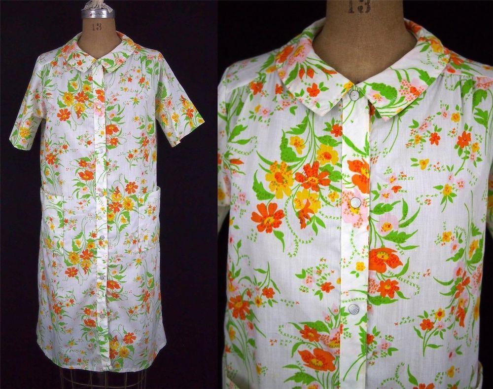 vtg 60s JC PENNEY Mod Orange Floral SHIFT Day House Dress Robe USA Snaps L EUC #JCPenney