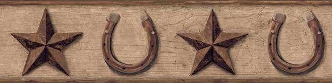Love Texas/Western themed things :) ~ Western Star Brown Wallpaper Border  in York Border Portfolio - Interior Place - Brown Horseshoe Star Wallpaper Border, $29.99