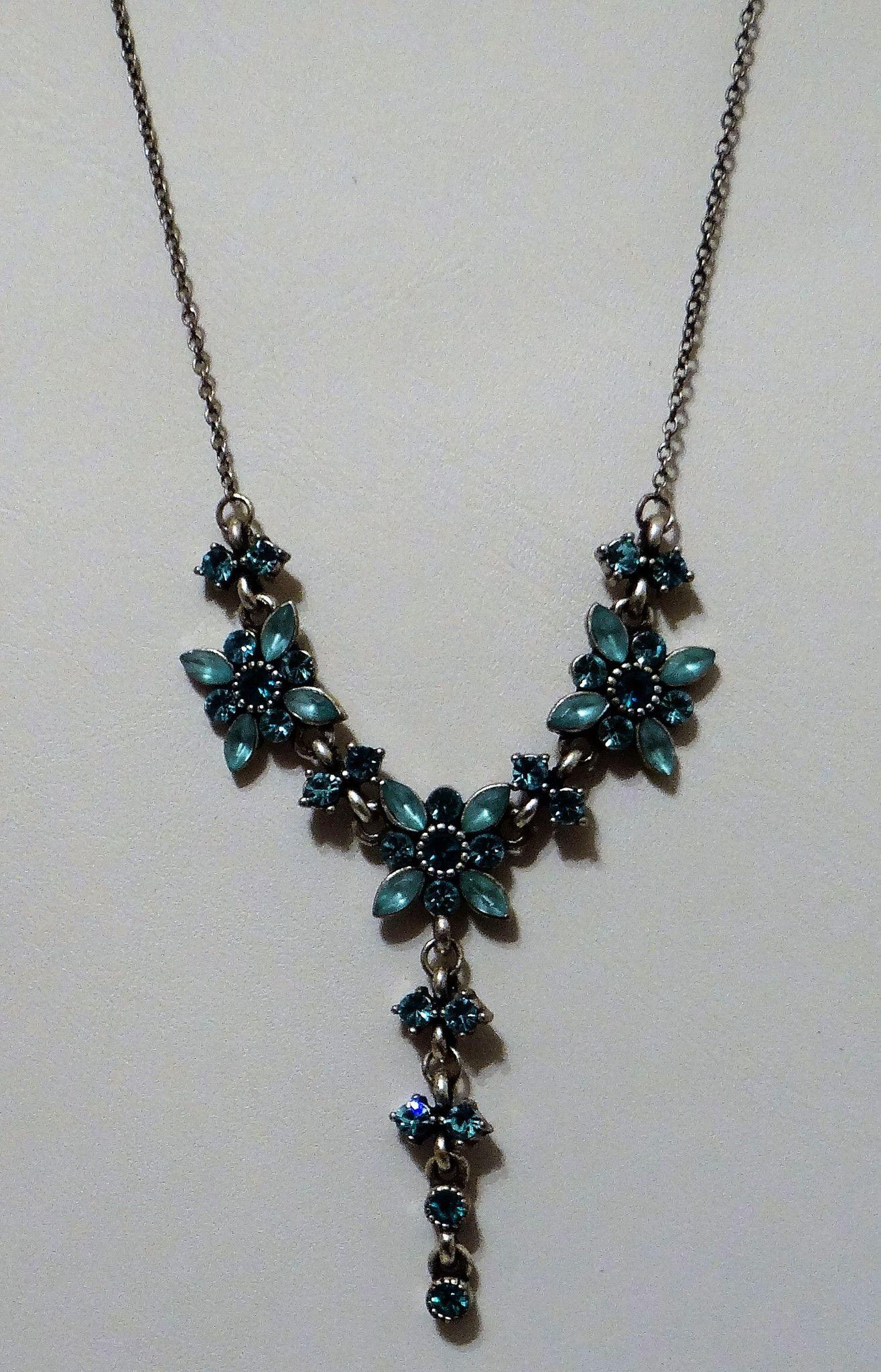Rhinestone Blue Flower Vintage Necklace with Drop