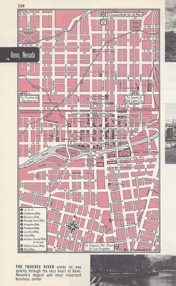Reno Nevada Map City Map Street Map S Pink Black And White - Street map of reno nv