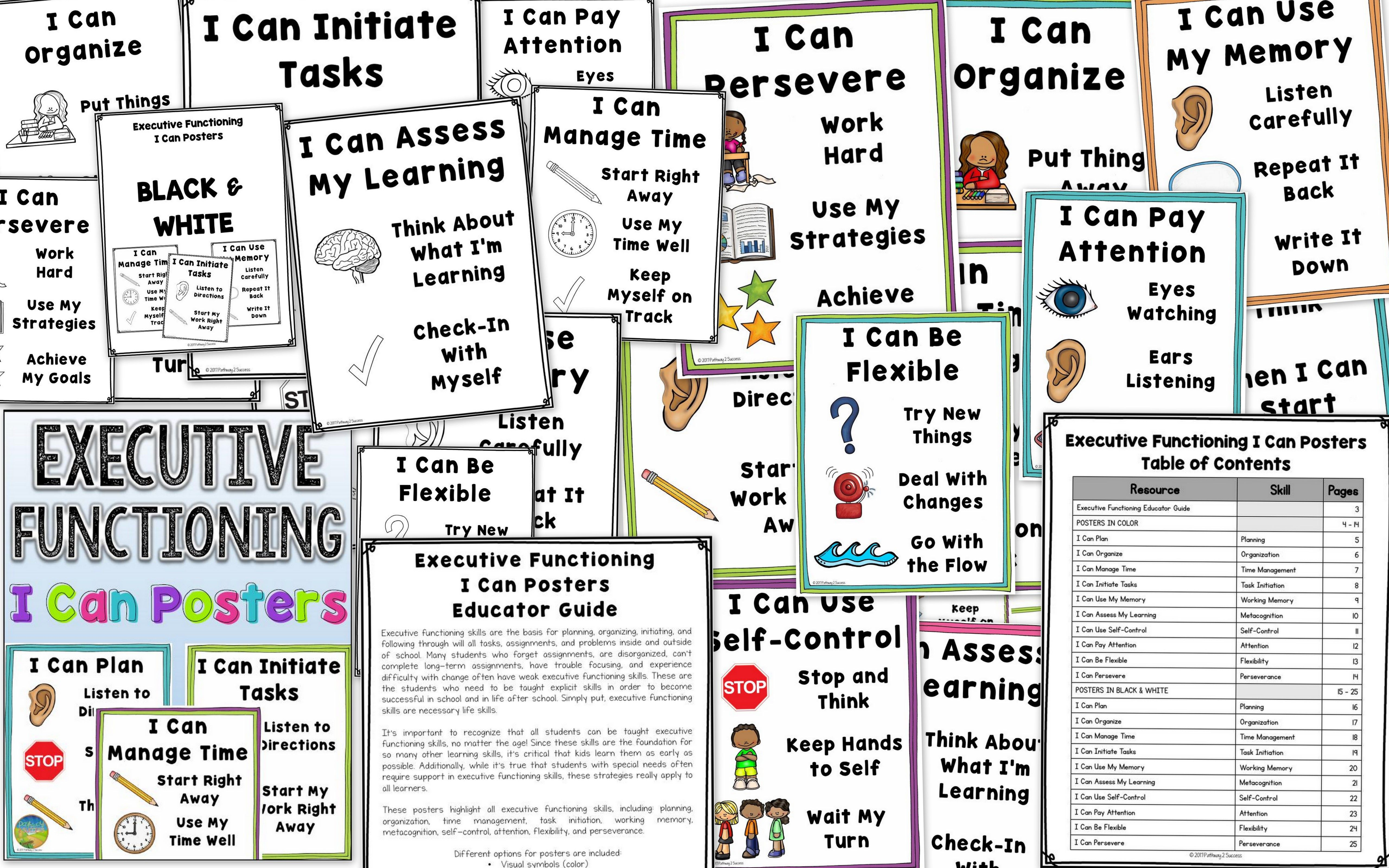 Executive Functioning Posters With Visual Cues