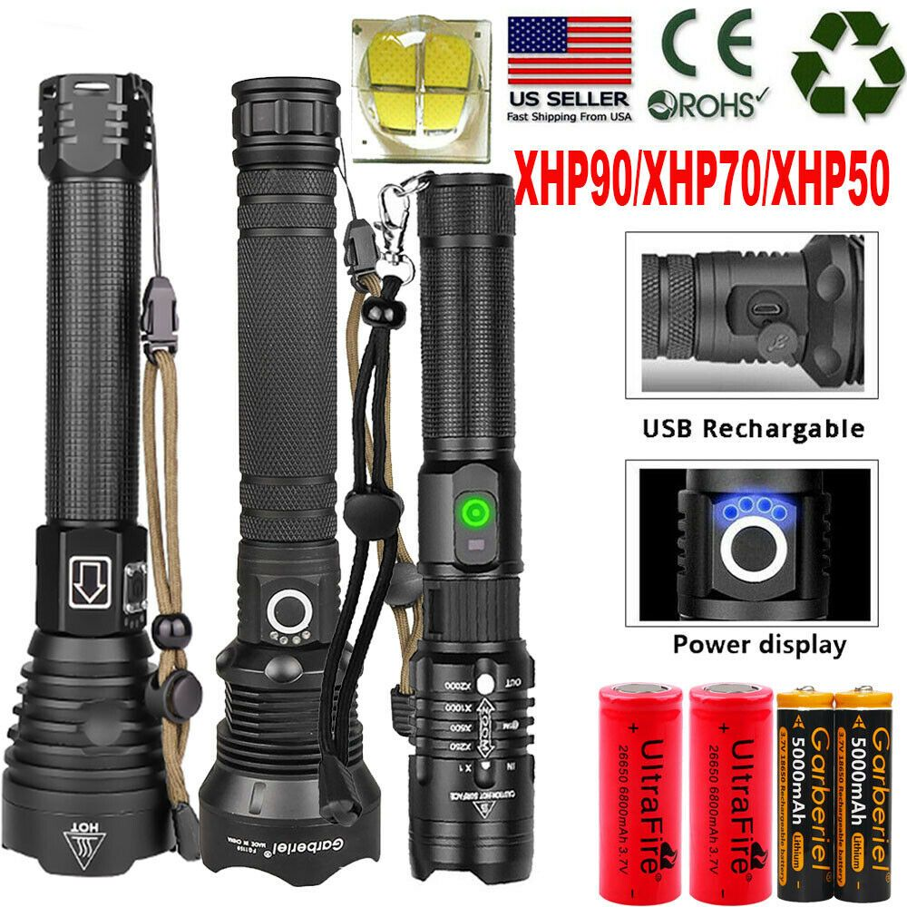 XHP90 Zoomable Mini LED Flashlight USB Rechargeable Torch Adjustable Focus Light