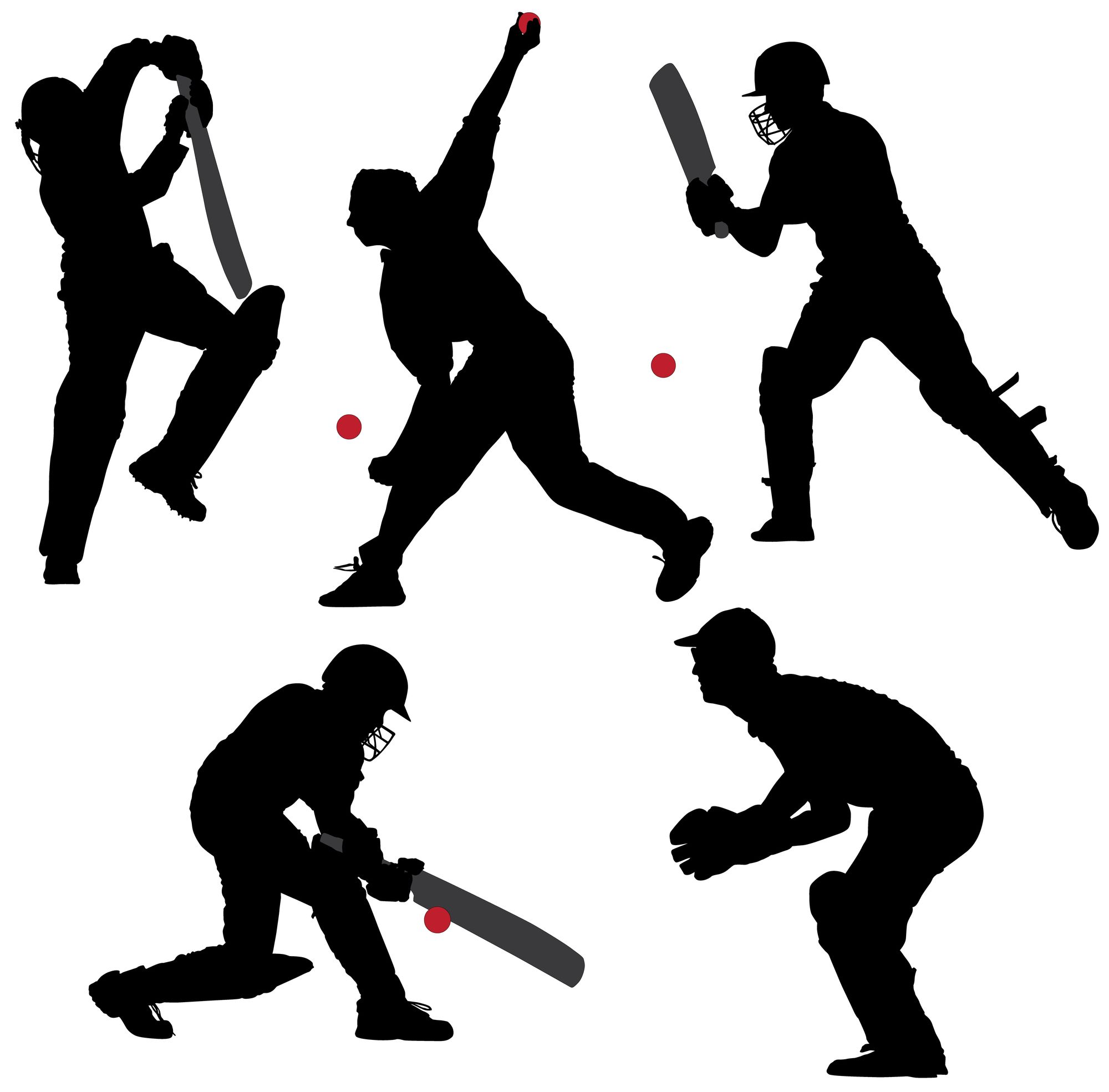 Cricket Sport Silhouette on white background. Cricket