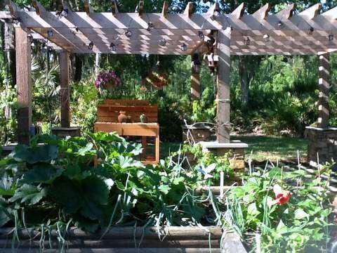 Backyard pergola and raised beds for Vegetable garden pergola