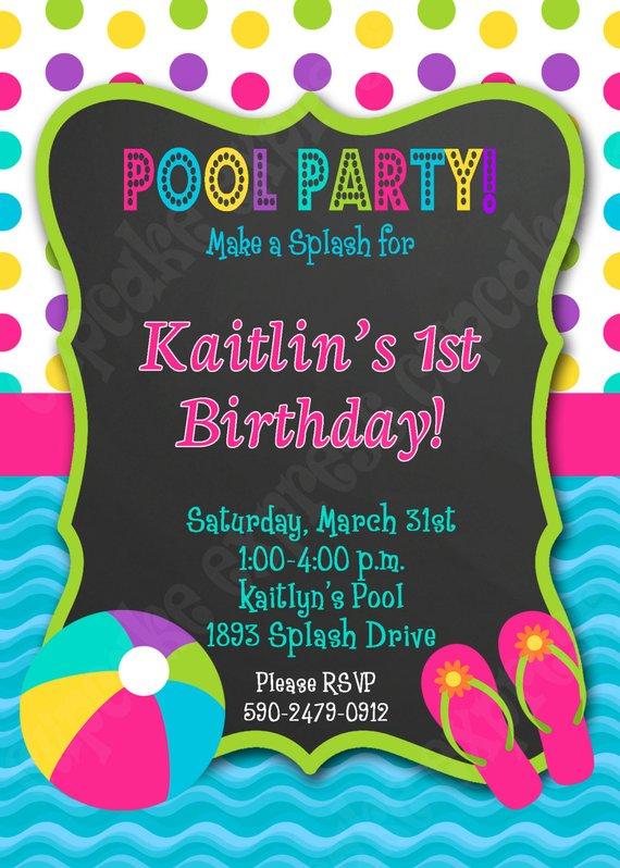Pool Party Invitation Girls Birthday Party PRINTABLE 5x7 summer splash 1st first birthday Chalkbo