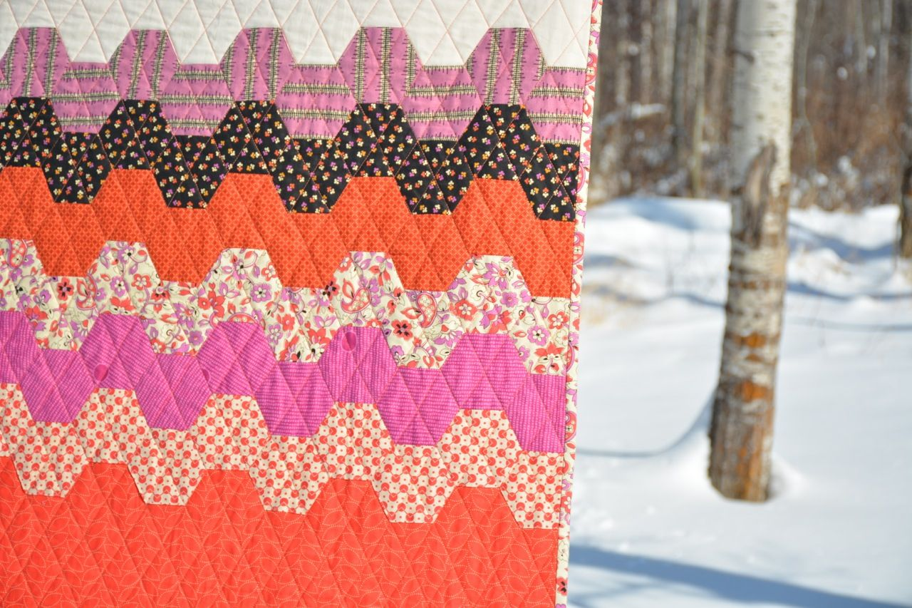 240 hand-stitched hexies and 10 months later - Chicopee Hexie Quilt is finished!