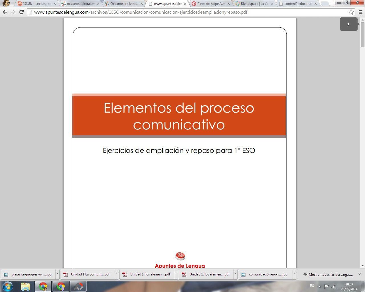 Elementos del proceso comunicativo Ampliación y repaso 1 ESO Apuntes de lengua