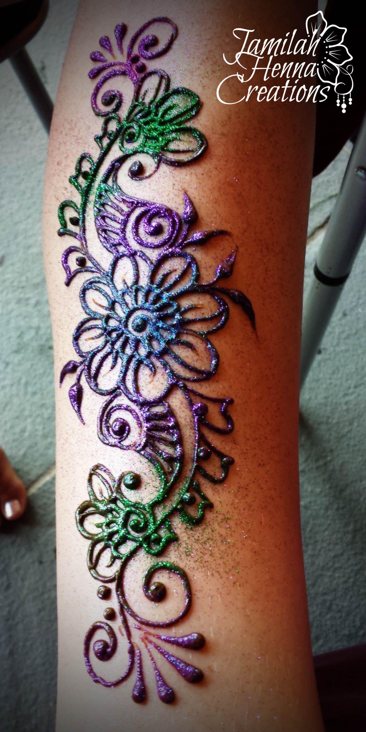 Colored Henna Tattoo: Henna With Multi Colored Glitter Www.JamilahHennaCreations