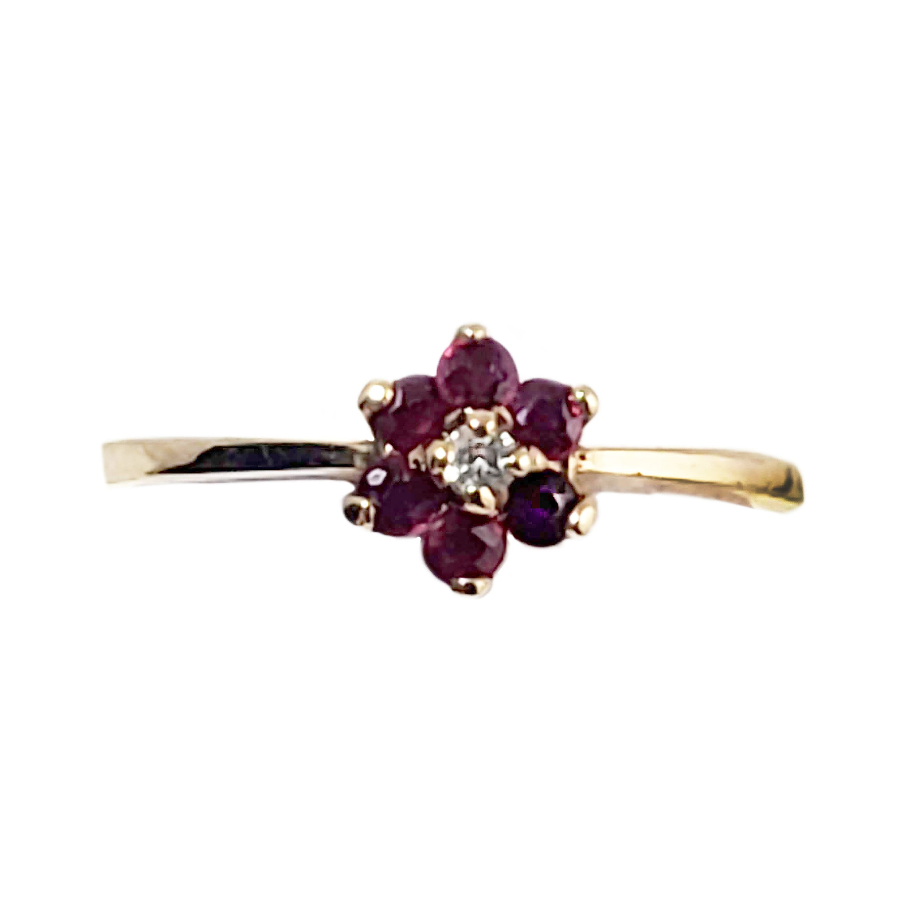 Vintage 10k Gold Ruby And Diamond Ring Dainty Flower Design Size 6 Ladies Silver Rings Garnet Jewelry 10k Gold