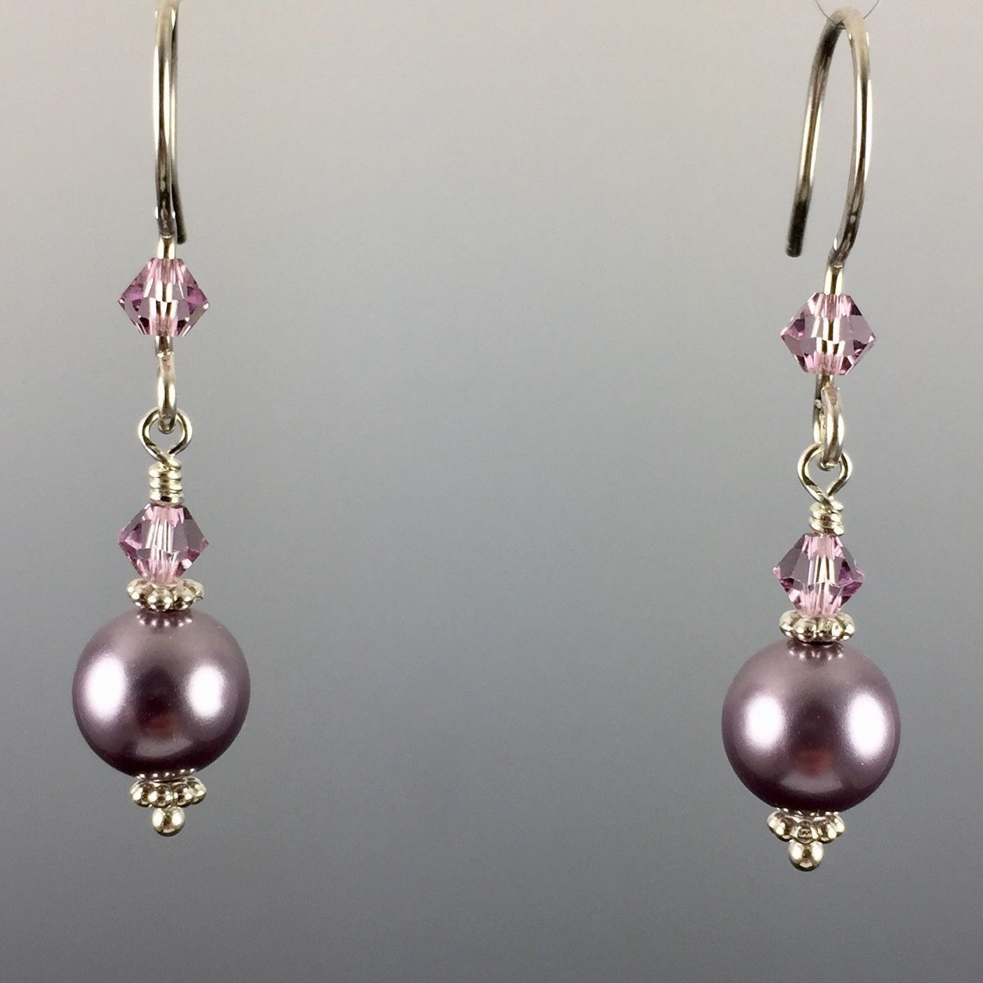 Mauve Swarovski Crystal Pearls & Swarovski Crystal Simple Drop Earrings - 8mm