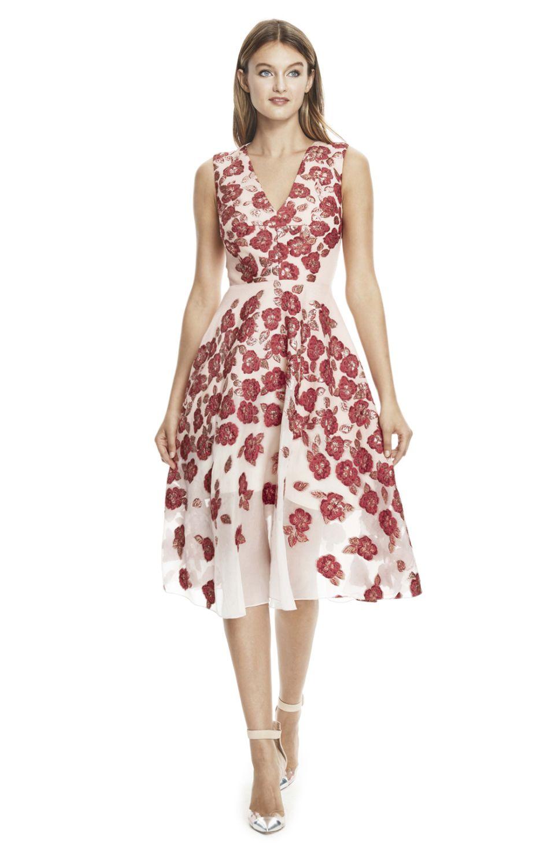 Raised Floral Fil Coupe V-Neck Dress | Aliz Less Formal - Red ...