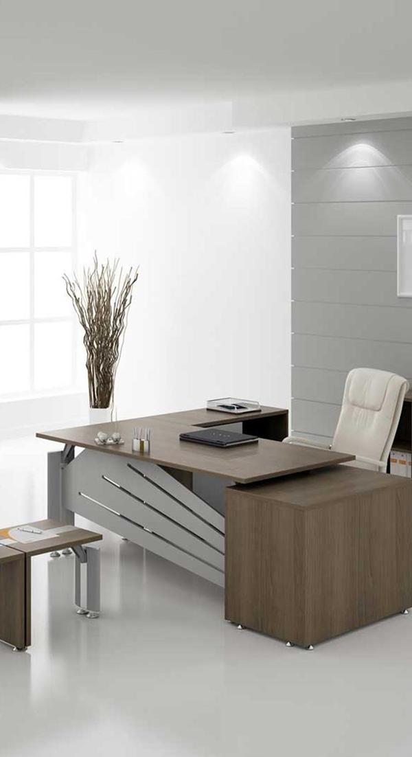 Escritorio ejecutivo tonos maderados y aluminio - Escritorios de madera para oficina ...