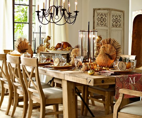 Pottery Barn Dining Table Decor: Rustic Thanksgiving Party Ideas