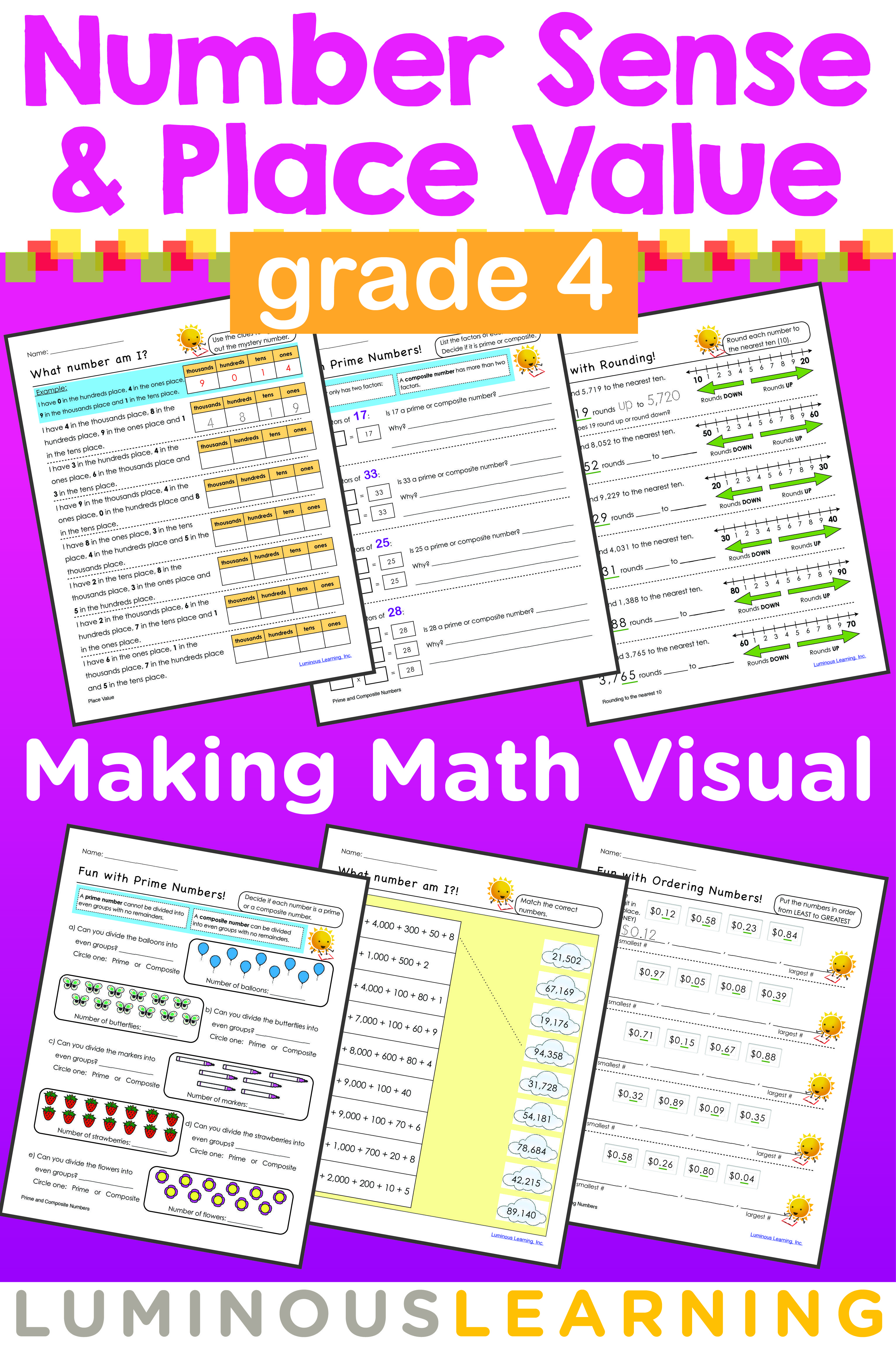 Luminous learning grade 4 number sense and place value workbook grade 4 number sense and place value printable workbook robcynllc Image collections