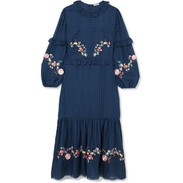 Adeline Embroidered Cotton And Silk-blend Maxi Dress - Navy VILSHENKO Popular Cheap Visa Payment Cheap Price Wholesale 51Tcx4