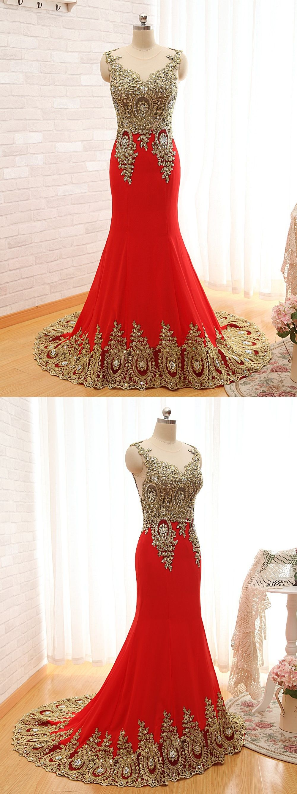 Elegant new design gold embroidery mermaid evening dresses