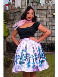 Jenny Skirt in Pink Castle Print, pin up clothing
