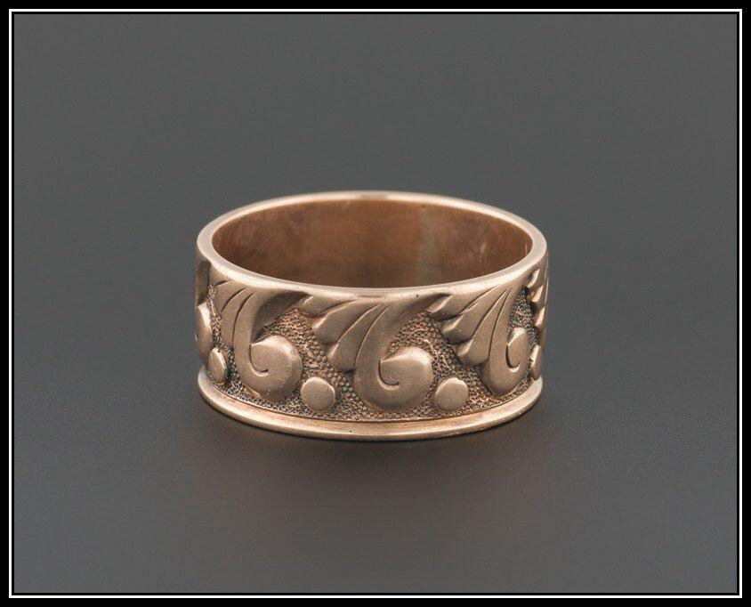 Antique victorian ring rose gold cigar band 10k gold