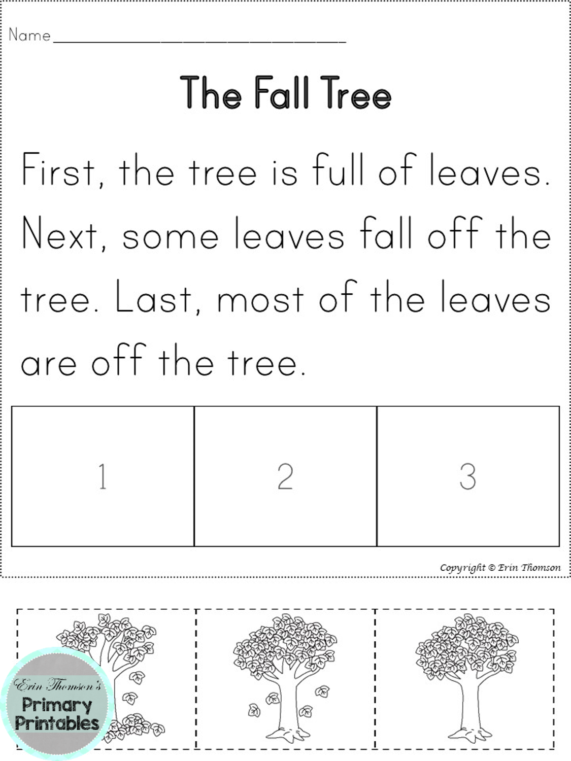 3 Part Sequencing Story The Fall Tree First Next Last Story Sequencing Sequencing Worksheets Reading Passages
