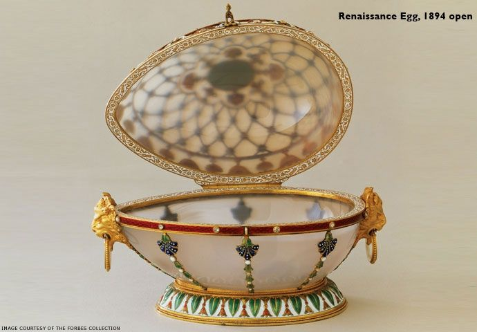 Renaissance Egg 1894 (open) - Made by Michael Perchin under Faberge supervision -The surprise is lost, but it has been speculated that the surprise was pearls