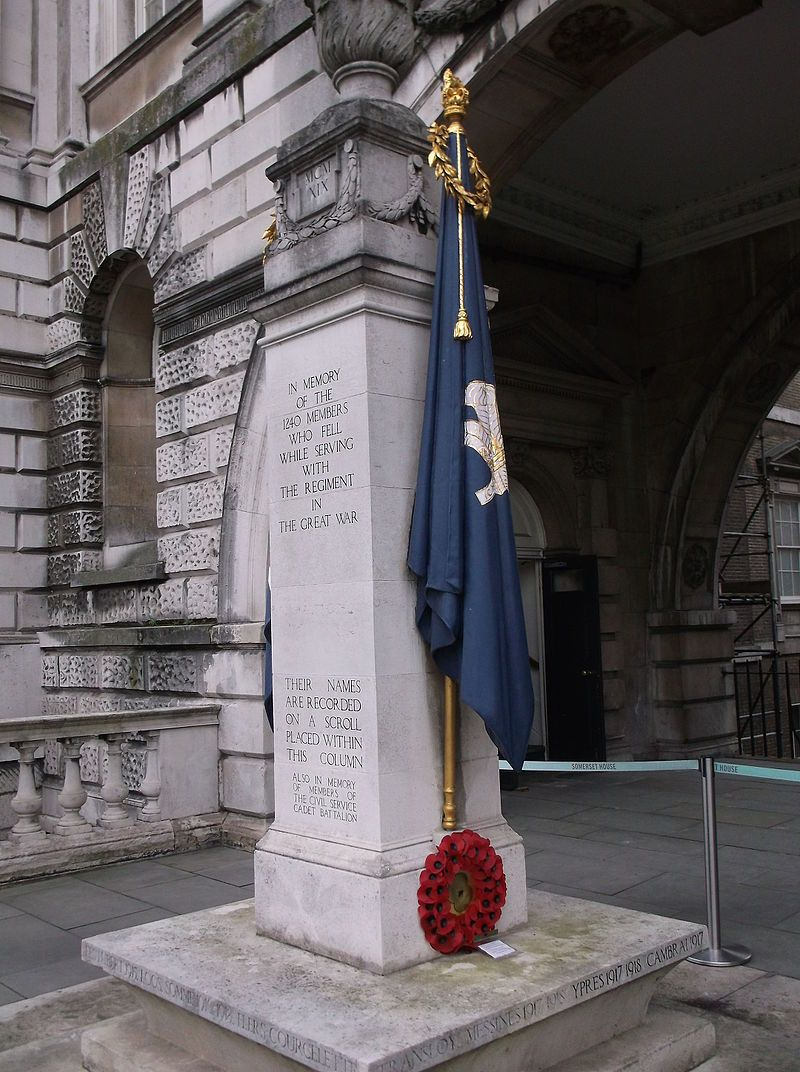 The Civil Service Rifles War Memorial comprises a rectangular stone column  made from Portland stone,