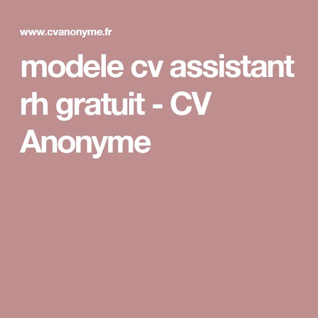 Modele Cv Assistant Rh Gratuit Cv Anonyme Assistante Rh Modele Cv Assistante