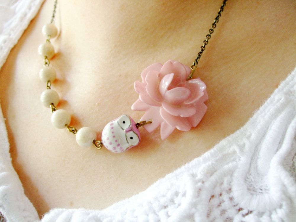 Owl Necklace,Owl Jewelry,Dusty Rose Jewelry,Flower Necklace,Bridesmaid Necklace,Ivory Jewelry (Free matching earrings). $32.00, via Etsy.
