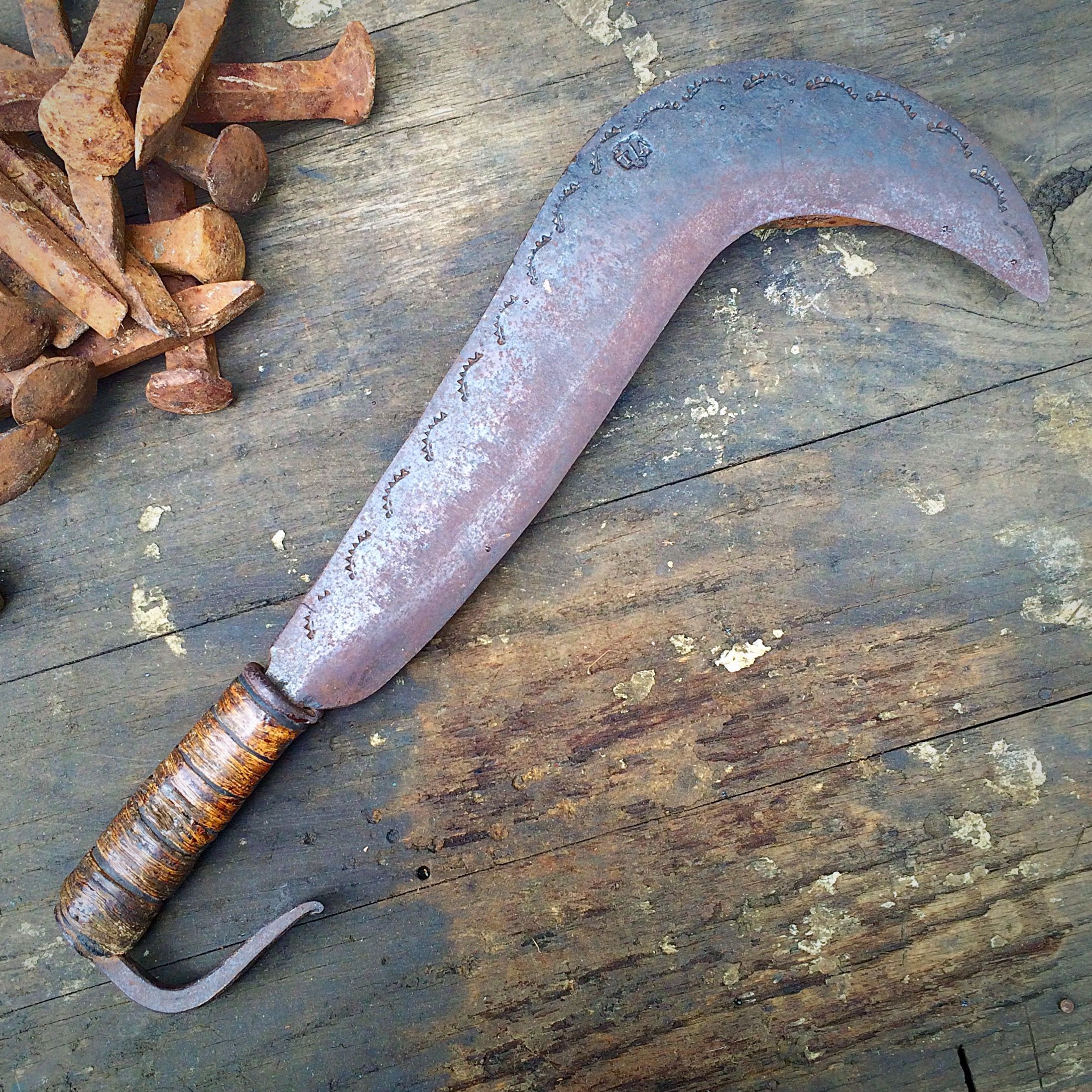 Huge antique iron billhook knife. Collection of