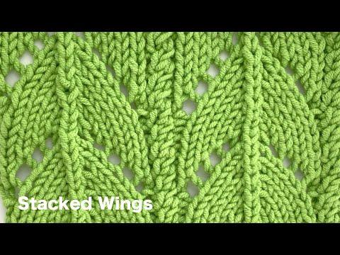 (video tutorial) Stacked Wings Knitting Stitch Patterns - KnitCraft #knitting #crochet #pattern