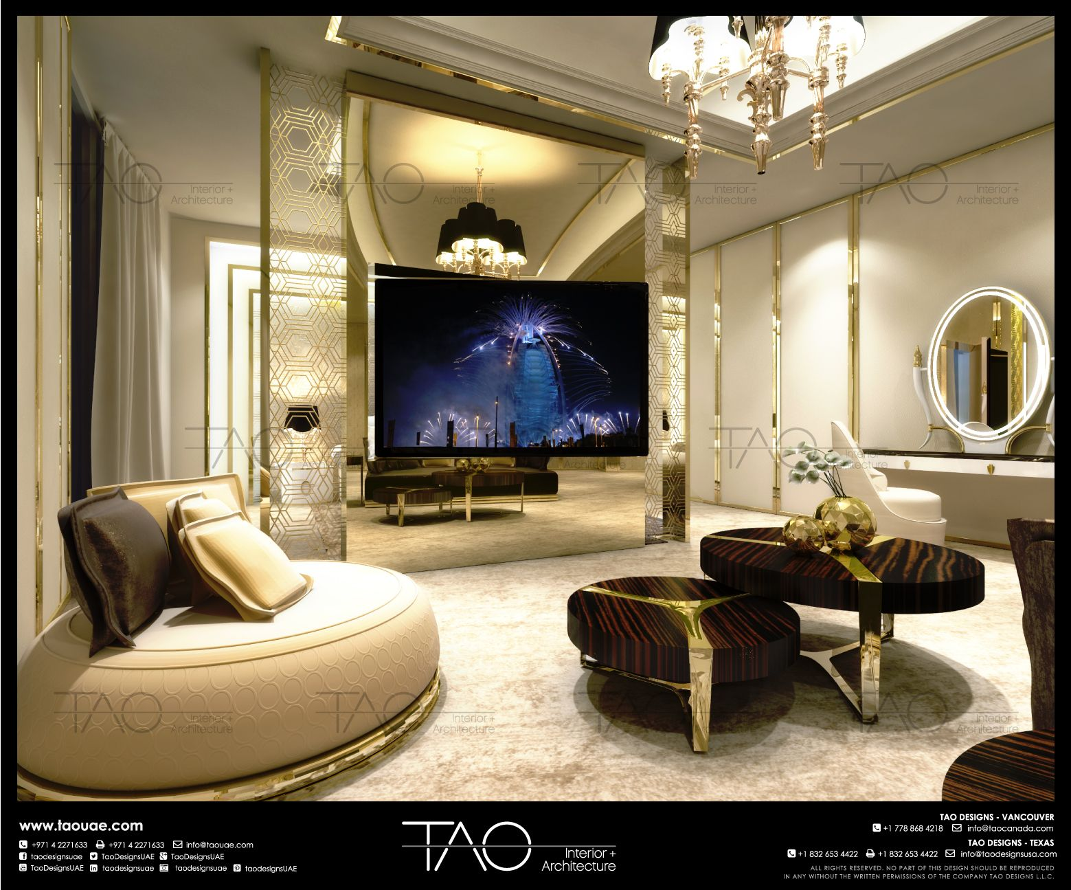 Private Palace master entertainment room interior in