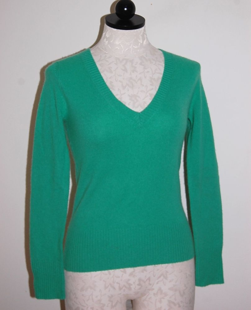 atmosphere 100% Cashmere Woman's Green V-Neck Sweater 2XS XXS ...