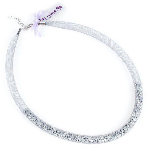 1bd0e6aaf By Niya Crystal Splash swarovski crystal fatty part-filled necklace (grey  mesh, metallic silver crystals): By Niya: Amazon.co.uk: Jewellery