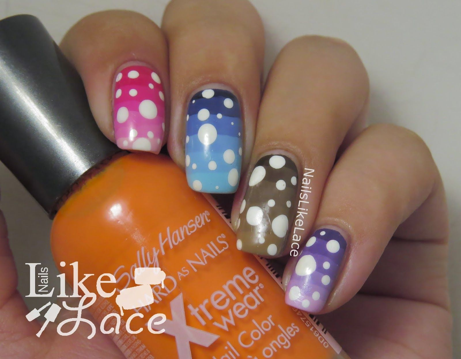 NailsLikeLace: Striped Rainbow Gradients and Dots