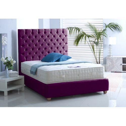 Scarlet Upholstered Bed Frame Dcor Design Colour Purple Size