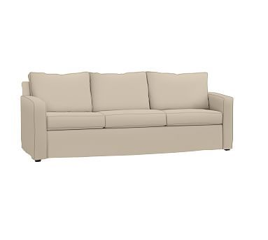 Cameron Square Arm Slipcovered Grand Sofa 96u0026quot;, Polyester Wrapped  Cushions, Twill Parchment